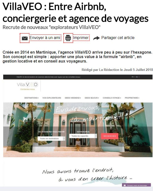 VillaVEO à l'honneur dans Tourmag