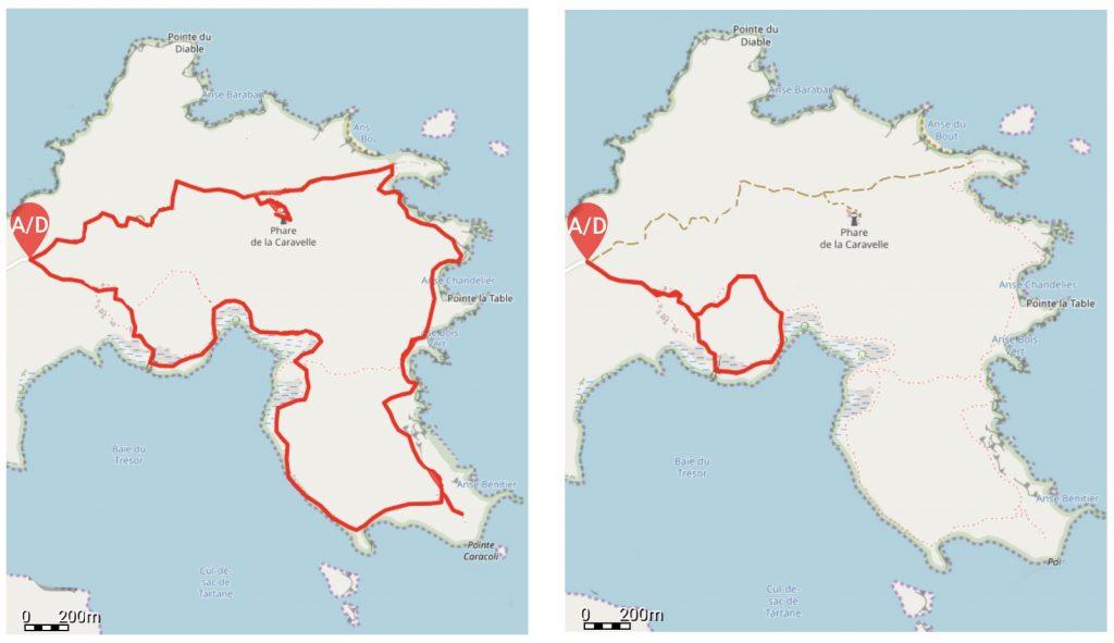 Carte des sentiers Réserve Presqu'île de la Caravelle